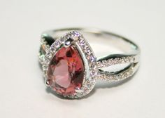 2.5 Carat Genuine Pink Pomegranate Tourmaline Semi Precious Gemstone Sterling Silver Rhodium Plated Solitaire Cocktail Halo Ring