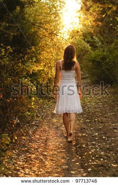 Young Girl With White Dress Walking Onto A Mysterious Path In The Forest Stock Photo 97713746 : Shutterstock
