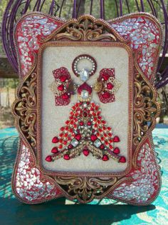 Vintage Jewelry Christmas Tree Framed Angel Art, -Gold ,Silver ,Ruby Red and Hearts