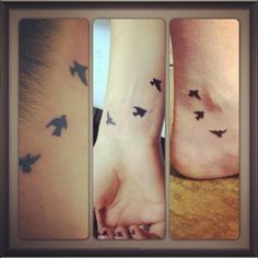 "Friendship tattoos - ""birds of a feather, fly together"" @Katelyn Huschke I like these too! (If they were small enough) ;)"