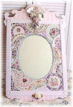 Shabby chic - broken china mosaic mirror | Shabby ideas | Pinterest
