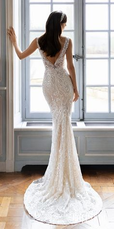 Lace mermaid wedding dress with deep v-neckline and thick strap for the romantic bride | Pollardi Wedding Dresses 2021 Royalty Bridal Collection - 3174 - Belle The Magazine #weddingdress #weddingdresses #bridalgown #bridal #bridalgowns #weddinggown #bridetobe #weddings #bride #dreamdress #bridalcollection #bridaldress #dress See more gorgeous bridal gowns by clicking on the photo
