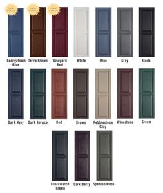 images coloured shutters on neutral siding ideas at DuckDuckGo Shutters Brick House, Red Shutters, Exterior Shutters, Paint Shutters, Exterior Paint, Diy Exterior, House Doors, Exterior House Colors, Exterior Design