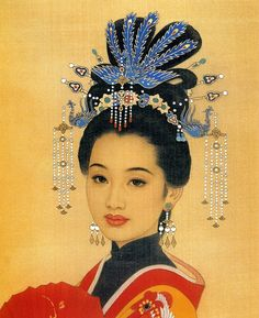 Beautiful painting of a Chinese woman.