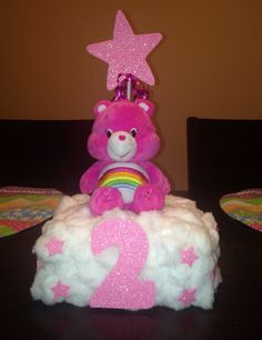 Care Bears centerpiece for 2nd birthday party  Cheer Bear Care bear birthday party ideas