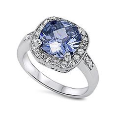 Sterling Silver Large Purple Blue Cubic Zirconia  Clear CZ Ring  size 6 >>> Click image for more details.(This is an Amazon affiliate link and I receive a commission for the sales)