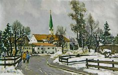 Stanislav Fomenok - Wintertag im Weiler im Allgäu Winter, Painting, Art, Kunst, Winter Time, Art Background, Painting Art, Paintings, Performing Arts