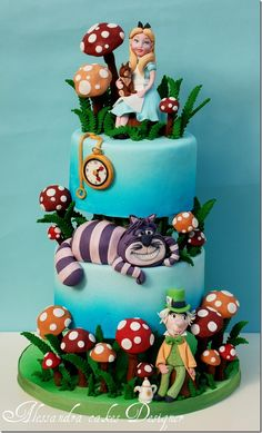 Alice in Wonderland cake design Pretty Cakes, Cute Cakes, Beautiful Cakes, Amazing Cakes, Crazy Cakes, Fancy Cakes, Pink Cakes, Decors Pate A Sucre, Alice In Wonderland Cakes
