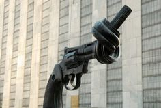 Gun tied in a knot at UN headquarters, New York