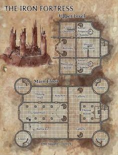 Map of the Iron Fortress\ Fortaleza dos Future Pirates Fantasy City Map, Fantasy Castle, Rpg Maker, Pathfinder Maps, Building Map, Iron Fortress, Map Layout, Dungeon Maps, Dungeon Tiles
