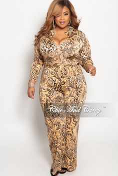 61a79ad799 Plus Size Zip-Up Jumpsuit with Attached Tie in Brown Animal Print – Chic  And Curvy