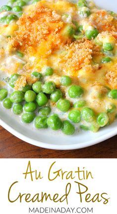 Creamed peas are basically sweet peas in a white sauce or bechamel sauce. These are topped with cheese and breadcrumbs and baked until golden brown So yummy Pea Recipes, Side Dish Recipes, Vegetable Recipes, Cooking Recipes, Healthy Recipes, Vegetarian Recipes, Dinner Recipes, Vegetable Sides, Vegetable Side Dishes