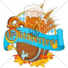 Decorative Oktoberfest design with beer wood keg and mug