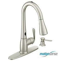 Haysfield MotionSense 1 Handle Pulldown Kitchen Faucet with Matching Soap Dispenser - Spot Resist Stainless Finish