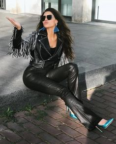 Only Leather: Photo Leather Pants Outfit, Leather Trousers, Leather Dresses, Leather Heels, Leather And Lace, Black Leather, Leather Jacket, Sexy Outfits, Lederhosen Outfit