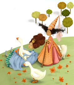 Valeria Docampo, part of an illustration for a puzzle.  Darling.  Bo Peep--and the Goose Girl? :D  Ha, what a great pair of friends.  And that sheep (goat?) is really sweet huddled up to Bo Peep like it's a little kid.  (Ha--kid--unintended, that one.)