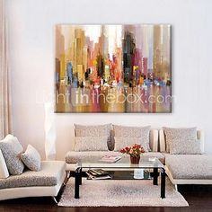 Oil Painting Modern Abstract Landscape Hand Painted Canvas with Stretched Framed - USD $ 62.99