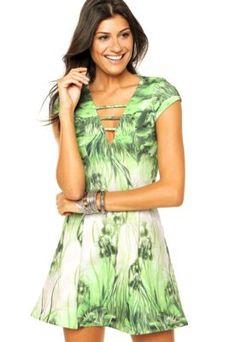 1c22393ec9 Vestido Lança Perfume Folhagem Verde Vestidos Soltos