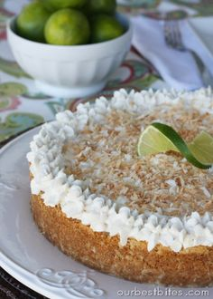 Lime Coconut Cheesecake   Our Best Bites. Made it GF by making the crust from crushed GF vanilla creme cookies, 1/2 cup sweetened coconut, and 4 T butter.