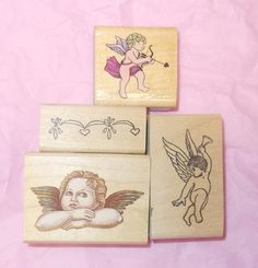 Cherubs angels rubber stamp lot assortment collection card making Stamping journaling mounted  border Comotion Rubber Stampede Stamp Affair by NoodlesNotions on Etsy
