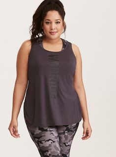 be5ab4c3ee425 Torrid Active Warrior Keyhole Back Tank Top in Grey Plus Size Workout