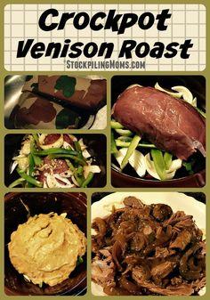 Crockpot Venison Roast is a tasty, low fat and great comfort food recipe made wi. - Crockpot Venison Roast is a tasty, low fat and great comfort food recipe made with simple ingredien - Elk Recipes, Crockpot Recipes, Cooking Recipes, Game Recipes, Recipies, What's Cooking, Clean Recipes, Fish Recipes, Venison Roast Crockpot