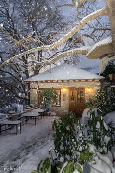 Agios Lavrentios in snow, Pilio, Greece