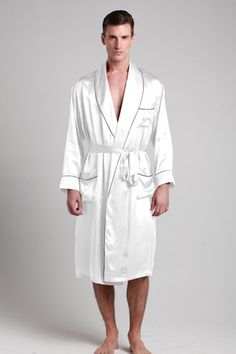 100-percent pure and soft white silk robes for men are made of 19 momme pure mulberry silk with contrast trim and custom plus size. $99 #robes #silk #lilysilk