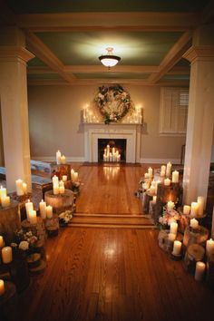 at home wedding have the fireplace be your backdrop and use candles to decorate - Home Wedding Decoration Ideas