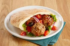 Greek Souvlaki Meatballs: The dressing both provides flavour and added moistness to this simple, yet versatile, meatball recipe. Baked Meatball Recipe, Meatball Recipes, Pork Recipes, Cooking Recipes, Recipies, What's Cooking, Healthy Lunches For Work, Healthy Dinner Recipes, Appetizer Recipes