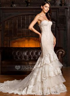 [US$ 419.99] Trumpet/Mermaid Sweetheart Chapel Train Tulle Lace Wedding Dress With Cascading Ruffles