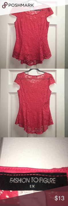 Pink/Coral colored lace peplum shirt This pink/coral colored shirt has a peplum flare and cute cap sleeves. The lace is open at the décolletage and shoulders. Size 1X. Fashion to Figure Tops Blouses