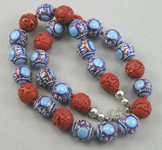 Vintage Chinese Enamel / Pierced Longevity & Cinnabar Beads Necklace
