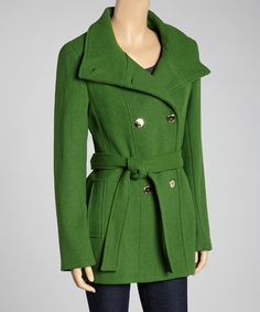 Green Wool-Blend Trench Coat - love it!