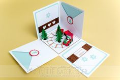 Explosionsbox mit Weihnachts-Zug. Entwurf und Herstellung: Brigitte Baier-Moser mit den Produkten von Stampin'Up!
