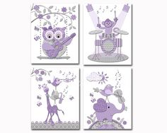 Purple grey music nursery art baby girl room by PinkRockBabies Girls Room Wall Decor, Playroom Decor, Music Nursery, Nursery Art, Kids Artwork, Kids Room Art, Purple Grey, Wall Prints, Handmade Gifts