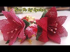 Tespih Çiçeği Modeli Yapılışı Sesli Anlatım - YouTube Hand Embroidery Videos, Needle Lace, Arte Floral, Diy Flowers, Needlework, Strawberry, Make It Yourself, Youtube, Pearl Flower