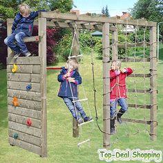 Spielturm Klettergerüst Sprossenwand, Kletterwand + Kletternetz und Reckstange
