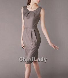 Business Casual Dress Khaki Summer Elegant Dress por Chieflady, $109.00