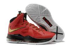 meet cd6b8 415fc Nike Air Max LeBron James X 10 Miami Red Gold Basketball shoes