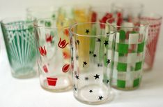 I LOVE using these as wine glasses!   Vintage juice glasses