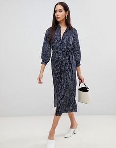 9d62203025f Fashion Union Tall midi shirt dress in smudge spot
