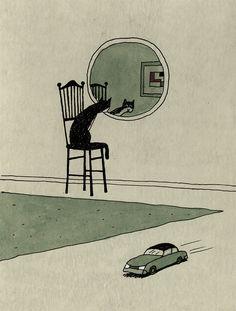 Untitled illustration by Italian artist illustrator Franco Matticchio via animalarium Art And Illustration, Cat Illustrations, Art Inspo, Kunst Inspo, Arte Peculiar, Arte Indie, Art Mignon, Arte Obscura, Art Design