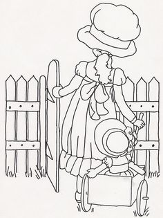 little girl with doll in wagon and picket fence - embroidery pattern or coloring page