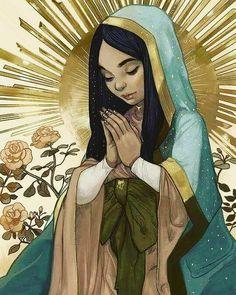 Christian Artwork, Christian Pictures, Divine Mother, Mother Mary, Catholic Prayers, Catholic Saints, St Francis Statue, Maria Goretti, Jesus Christ Images