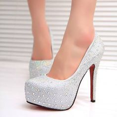 New Wedding Shoes Platform White Red High Heels Ideas High Heels For Prom, Red High Heels, Prom Heels, High Heels Stilettos, Womens High Heels, Stiletto Heels, Shoes Heels, Rhinestone Wedding Shoes, Silver Wedding Shoes