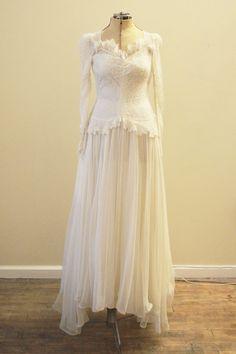 Vintage Bridal 1930's floral lace and chiffon by MirandasBridal