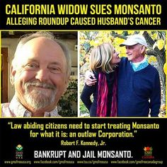California Widow Sues Monsanto Alleging Roundup Caused Her Husband's Cancer. A wrongful death lawsuit has been filed against Monsanto by the widow of a pro