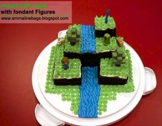 Easy Minecraft Birthday Cake   Minecraft Cake complete with Steve, a dog, pig, a creeper and trees.