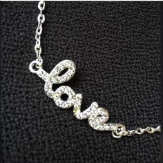 "hOLidAy sALe Cute. NWOT. ""LOVE"" Rhinestones Charm Necklace... On an 18"" silver cable chain. Passions23 Jewelry Necklaces"